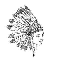 Native american head of indian man in traditional vector