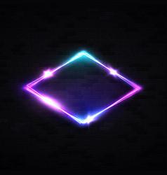 Neon rhombus background on black brick wall vector