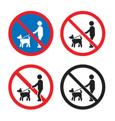 No dogs sign set no dogs allowed icon vector