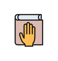 Oath on bible constitution flat color icon vector