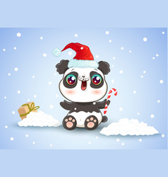 panda on snow in kawaii style for christmas vector image