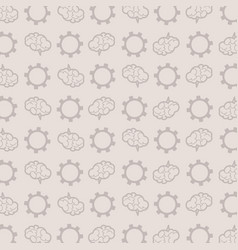 Pattern of brains and gears on a gray background vector
