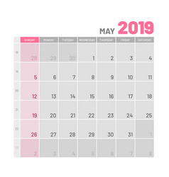 Practical light-colored planner 2019 may flat vector