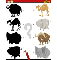 Preschool shadow task with animals vector