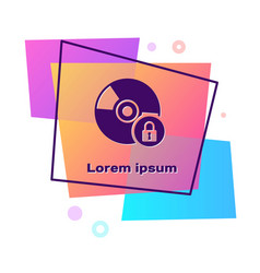 Purple cd or dvd disk with closed padlock icon vector