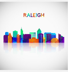 raleigh skyline silhouette in colorful geometric vector image
