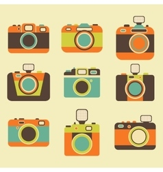 Retro photo camera icons set vector image