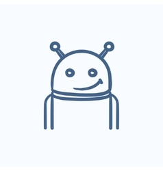 Robot sketch icon vector image