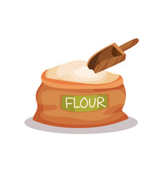 sack of flour and wooden scoop vector image