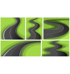 Scenes with different shapes of roads vector image