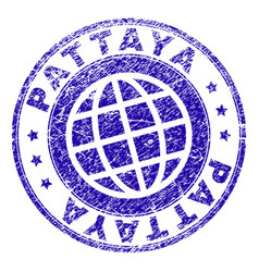 Scratched textured pattaya stamp seal vector