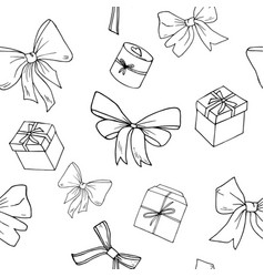 seamless pattern bows and presents vector image