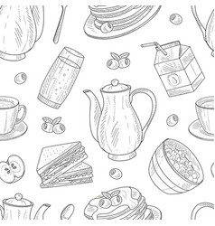seamless pattern with hand-drawn breakfast vector image