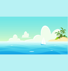 seascape with yacht and tropical island vector image