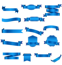 Set blue ribbons isolated on white background vector