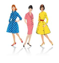 Set elegant women - retro style fashion models vector