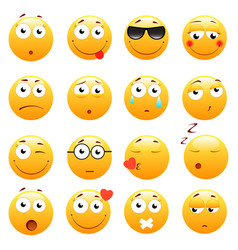 Set of 3d cute emoticons emoji and smile icons vector