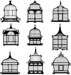 set of 9 vintage birdcages vector image