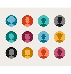 Set of Colorful Flat Design People Avatar Icon Set vector image