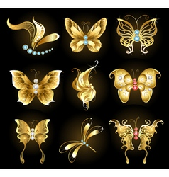 Set of golden butterflies vector