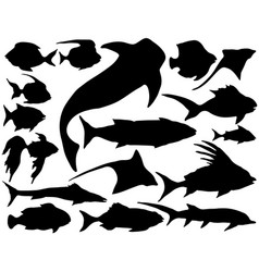 Set of sea underwater fish silhouettes vector