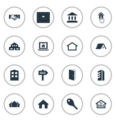 set of simple property icons elements high-rise vector image