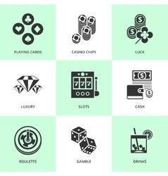 Set of white casino icons vector