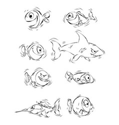 silhouettes of cartoon fishes vector image