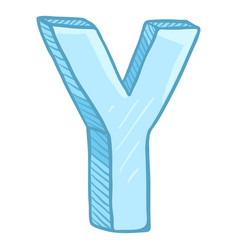 Single cartoon - ice blue letter y vector