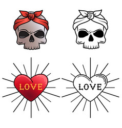 skull and heart tattoo coloring page vector image