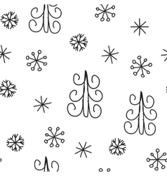 Snowflake and fir christmas tree Christmas vector image vector image