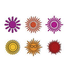 sun icon set color outline style vector image