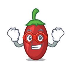 super hero goji berries character cartoon vector image
