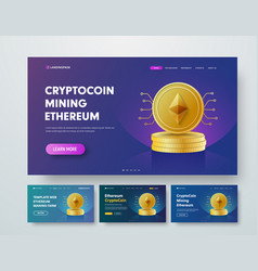 Template header with gold stacks ethereum vector