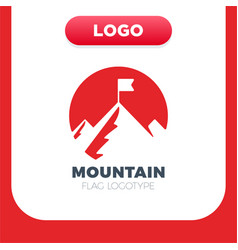 top mountain with flag icon filled flat sign vector image