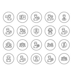 users line icons male and female profiles vector image