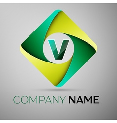 V letter colorful logo in the rhombus template for vector