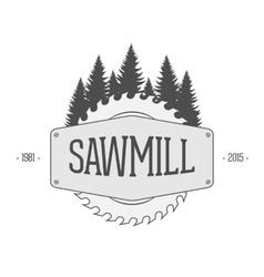 vintage label sawmill vector image
