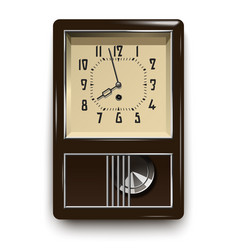 Vintage mechanical wall clock with pendulum vector