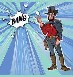 Vintage retro clip art men cowboy bang vector