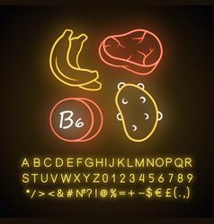 Vitamin b6 neon light icon meat banana and potato vector