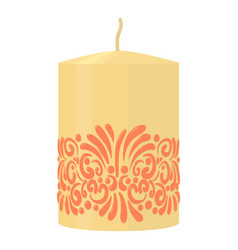 white decorative candle with red ornament icon vector image