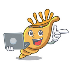 with laptop exotic shell character cartoon vector image