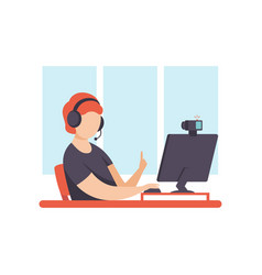 young man blogger creating content and posting it vector image