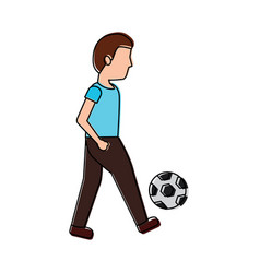 young man playing with soccer ball vector image