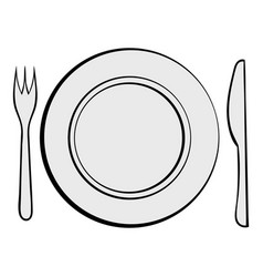 cutlery set with plate icon cartoon vector image