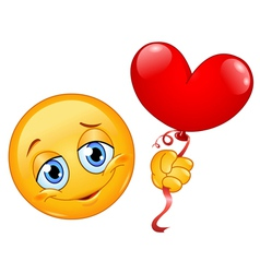 emoticon with heart balloon vector image