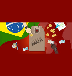 made in brazil price tag badge export vector image