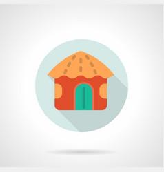 red hawaiian hut flat round icon vector image