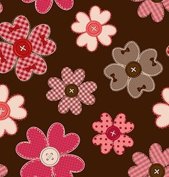 Seamless pattern of flower patchworks and buttons vector image